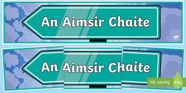 An Aimsir Chaite Display Banner Gaeilge