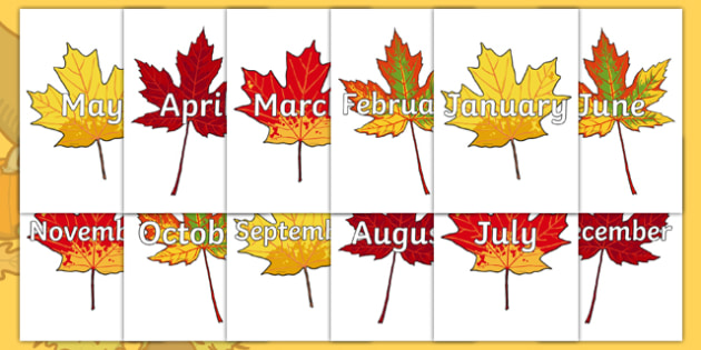 Months of the Year on Autumn Leaves - Months of the Year, Months poster, Months display, display, poster, frieze, Months, month, January, February, March, April, May, June, July, August, September