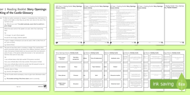 Story Openings Glossary Resource Pack