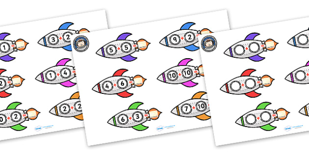 Space Rocket Addition Worksheets - worksheets, worksheet, work sheet, space rocket, space, rockets, outer space, moon, in space, addition, numeracy, sums, rocket addition,  sheets, activity, writing frame, filling in, writing activity