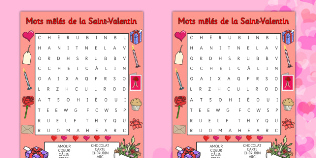 Valentine's Day Word Search French - french, valentines day, valentine, wordsearch
