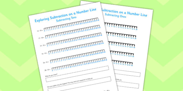 Exploring Subtraction on a Number Line - exploring, subtraction, number line