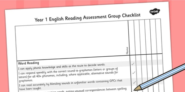 2014 Curriculum Year 1 English Reading Assessment Group Checklist