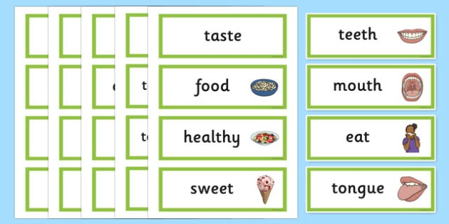 Teeth And Eating Word Cards - teeth, eat, mouth, tongue, eating, tooth, toothpaste, mouthwash, toothbrush, word cards, cards, flashcards, dental, dentures, dental floss, dentist, sweet, savoury, healty, food, use your toothbrush, taste, brushing your
