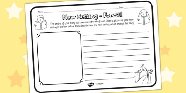 New Setting Forest Comprehension Worksheet - new setting, forest, comprehension, comprehension worksheet, character, discussion prompt, reading, discuss