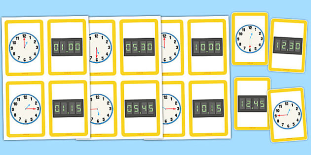 Analogue Digital Clocks Matching Cards - clock, numbers, to , past, quarter to, quarter past, fifteen, minutes, display, information, visual aid
