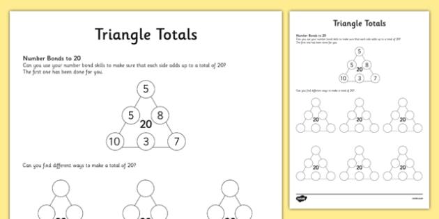Triangle Totals Number Bonds Activity Sheet, worksheet