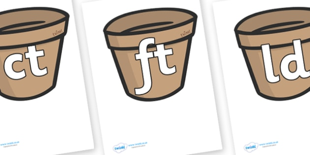 Final Letter Blends on Flower Pots - Final Letters, final letter, letter blend, letter blends, consonant, consonants, digraph, trigraph, literacy, alphabet, letters, foundation stage literacy
