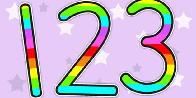 Stripey Rainbow Display Numbers - numbers, display number, number