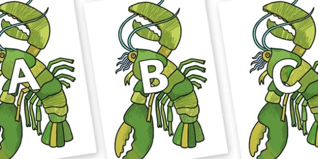 A-Z Alphabet on Lobster to Support Teaching on The Bad Tempered Ladybird - A-Z, A4, display, Alphabet frieze, Display letters, Letter posters, A-Z letters, Alphabet flashcards
