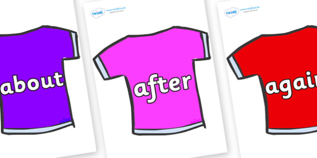 KS1 Keywords on T-Shirts - KS1, CLL, Communication language and literacy, Display, Key words, high frequency words, foundation stage literacy, DfES Letters and Sounds, Letters and Sounds, spelling