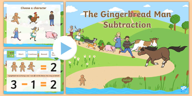 The Gingerbread Man Subtraction to 10 PowerPoint - math, numeracy