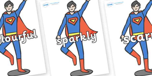 Wow Words on Superheroes (Plain) - Wow words, adjectives, VCOP, describing, Wow, display, poster, wow display, tasty, scary, ugly, beautiful, colourful sharp, bouncy