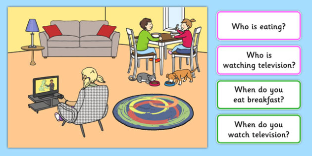 At Home Picture and Questions - Question words, Listening, Receptive language, expressive language, Language activity