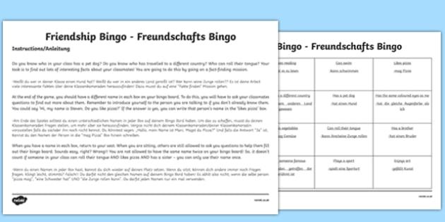 Back To School New Class Friendship Bingo Activity English / German