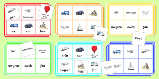 Transport Bingo Welsh Translation - transport, bingo, welsh