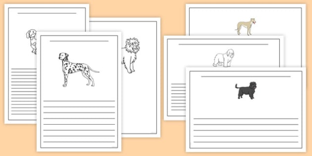 Dog Themed Writing Frames - Dame Lynley Dodd, hairy maclary, dog, writing frames