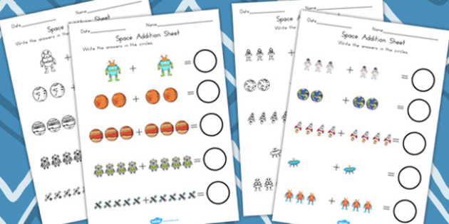 Space Addition Sheet - Worksheet, Worksheets, Adding, Numeracy