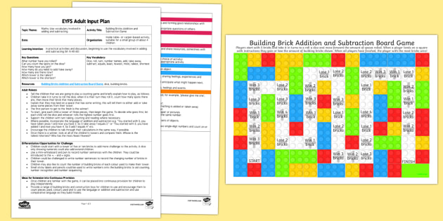 EYFS Building Bricks Addition and Subtraction Game Adult Input Plan and Resource Pack