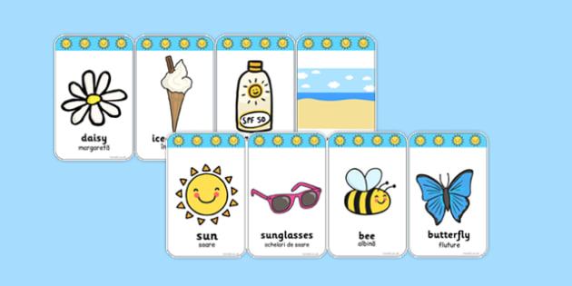 Summer Flashcards Romanian Translation - romanian, seasons, weather, flash cards, word cards