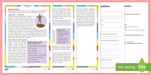 Influential Aboriginal and Torres Strait Islander People -  Yagan Differentiated Reading Comprehension Activity-Australia - Famous Indigenous Australians, Yagan, WA, Western Australia, history, Indigenous, Aboriginal, aborig