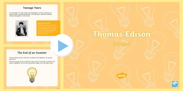 Thomas Edison PowerPoint Presentation - Thomas, Edison, Inventor
