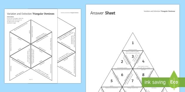 Variation and Extinction Triangular Dominoes - Tarsia, Dominoes, Variation, Extinction, Different, Environmental, Genetic, Inherited, plenary activity