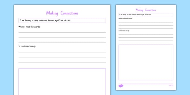 Making Connections Me to Text Activity Sheet, worksheet