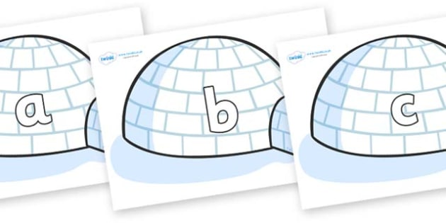 Phase 2 Phonemes on Igloos - Phonemes, phoneme, Phase 2, Phase two, Foundation, Literacy, Letters and Sounds, DfES, display