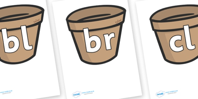 Initial Letter Blends on Flower Pots - Initial Letters, initial letter, letter blend, letter blends, consonant, consonants, digraph, trigraph, literacy, alphabet, letters, foundation stage literacy