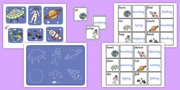 Space Themed Suffix Activity -ing - space, themed, suffix, ing, activity