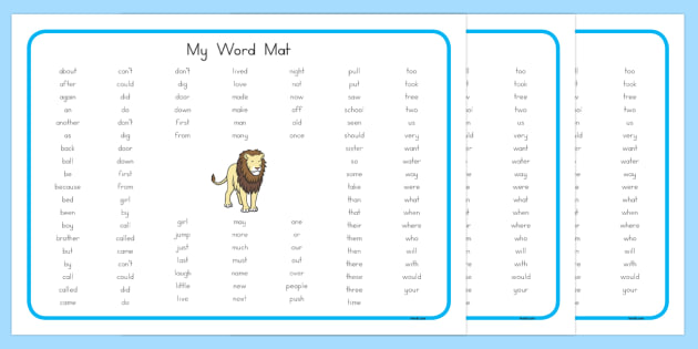 My Word Mat - word mat, visual aid, write, literacy, writing aid