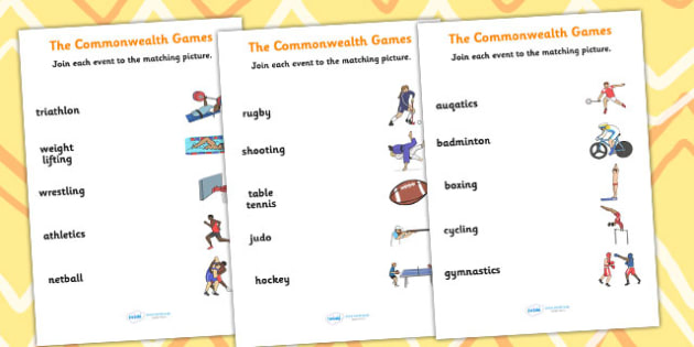 The Commonwealth Games Sport Event and Picture Matching Worksheet