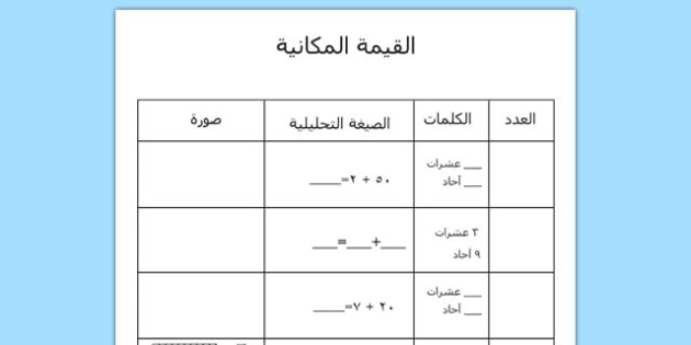 Place Value Worksheet Arabic - arabic, place value, worksheet, place, value, maths