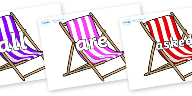 Tricky Words on Deck Chairs - Tricky words, DfES Letters and Sounds, Letters and sounds, display, words