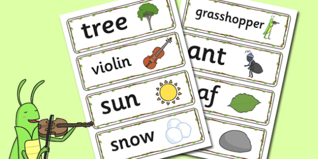 The Ant and the Grasshopper Word Cards - Ant, Grasshopper, Word