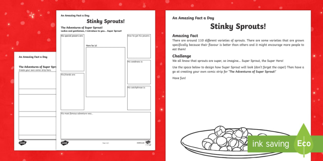 Amazing Fact a Day KS2 Countdown to Christmas Day 15 The Adventures of Super Sprout Activity Sheet - Amazing Fact Of The Day, activity sheets, powerpoint, starter, morning activity, December, Christmas