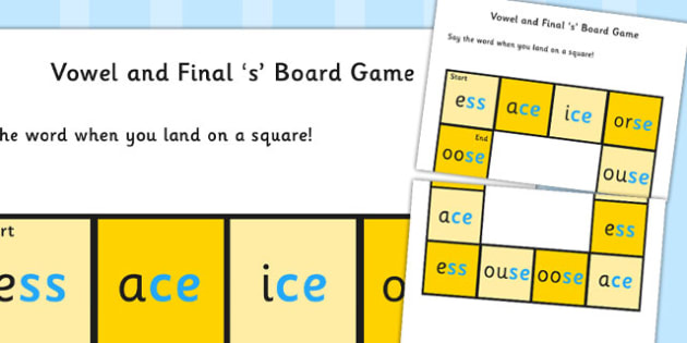 Vowel and Final 'S' Sound Board Game - final s, sound, board game