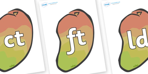 Final Letter Blends on Mangoes - Final Letters, final letter, letter blend, letter blends, consonant, consonants, digraph, trigraph, literacy, alphabet, letters, foundation stage literacy