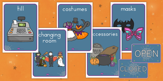Halloween Fancy Dress Shop Role Play Signs - american, us, usa, early years, independent, work area, kindergarten, display, signage, bill board,