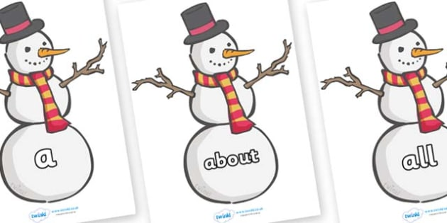 100 High Frequency Words on Snowmen - High frequency words, hfw, DfES Letters and Sounds, Letters and Sounds, display words