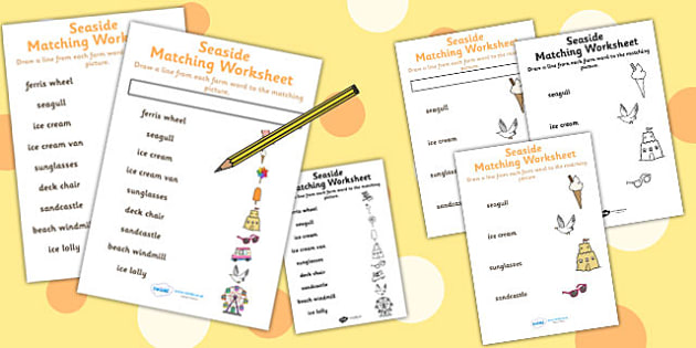 Seaside Themed Word and Picture Matching Worksheet - sea side