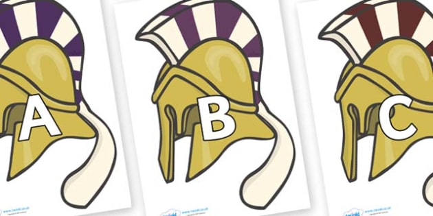 A-Z Alphabet on Helmets - A-Z, A4, display, Alphabet frieze, Display letters, Letter posters, A-Z letters, Alphabet flashcards