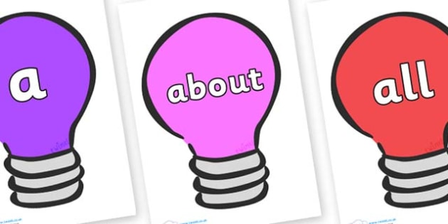100 High Frequency Words on Lightbulbs (Multicolour) - High frequency words, hfw, DfES Letters and Sounds, Letters and Sounds, display words