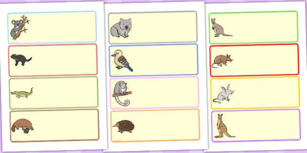 Australian Animal Drawer Peg Name Labels - australia, labels