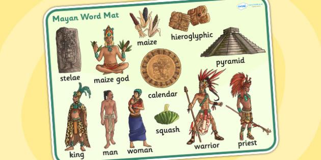 Mayan Civilization Word Mat - maya, word mat, visual aid, history