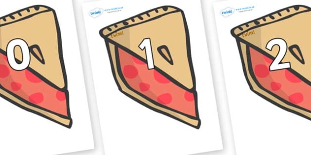 Numbers 0-31 on Cherry Pie to Support Teaching on The Very Hungry Caterpillar - 0-31, foundation stage numeracy, Number recognition, Number flashcards, counting, number frieze, Display numbers, number posters