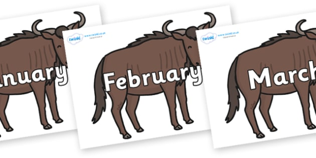 Months of the Year on Wildebeests - Months of the Year, Months poster, Months display, display, poster, frieze, Months, month, January, February, March, April, May, June, July, August, September