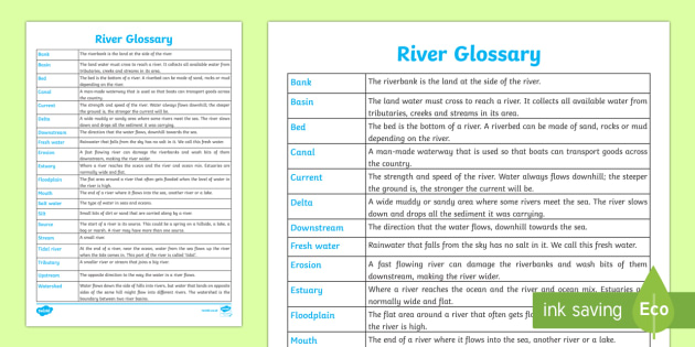 River Glossary