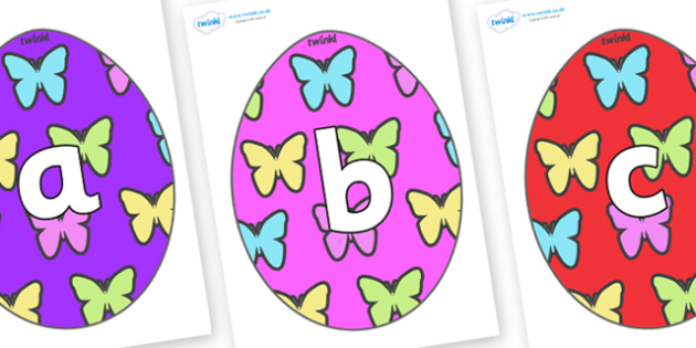 Phoneme Set on Easter Eggs (Butterflies) - Phoneme set, phonemes, phoneme, Letters and Sounds, DfES, display, Phase 1, Phase 2, Phase 3, Phase 5, Foundation, Literacy